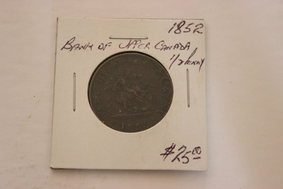 1852 Upper Canada, Bank of Upper Canada, Half Penny, VG-F, Copper