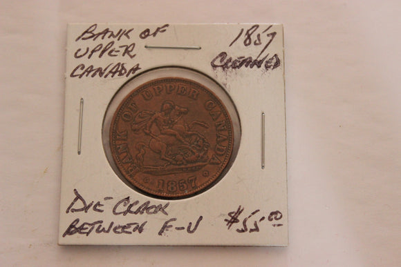 1857 Upper Canada, Bank of Upper Canada, Half Penny, Die Crack bet. F & U