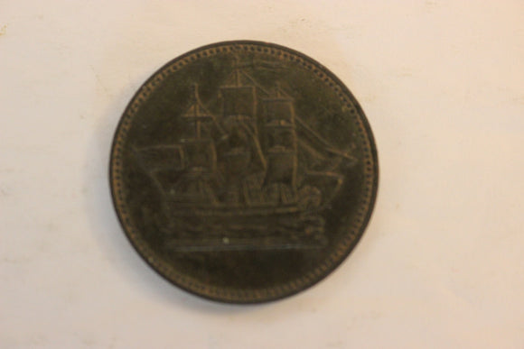 1830-35 Canada, 1/2 Penny, Ships, Colonies & Commerce, Rare Rotated, Copper, BR 997