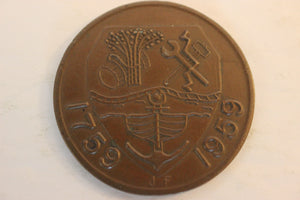 1959 Canada, Halifax Bicentenary, AU, Copper