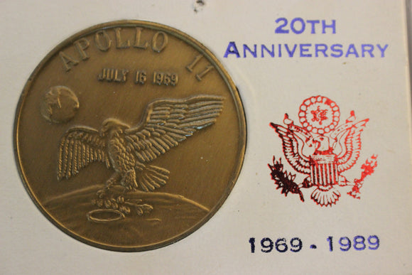 1989 U.S.A. Apollo 11 20th. Anniversary, in Issue Case, Brass