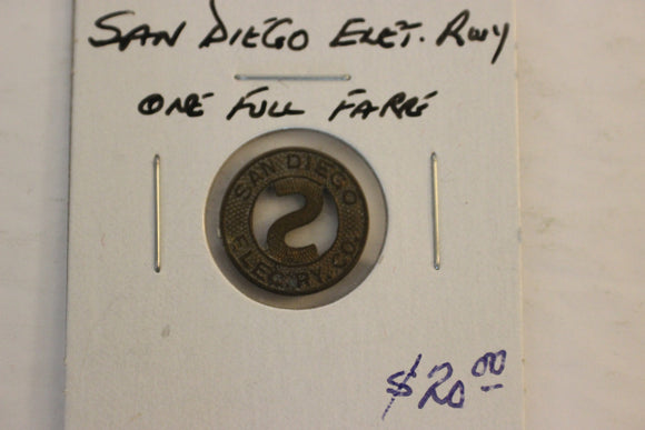 1920 U.S.A, San Diego Electric Railway Fare Token, Brass