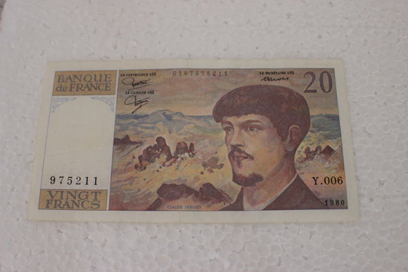 1980 France 20 Francs, Debussy, VF 30