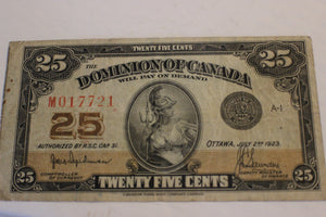 1923 Dominion of Canada 25 Cents, 2nd. Note Left edge, Hyndman / Saunders, VF+