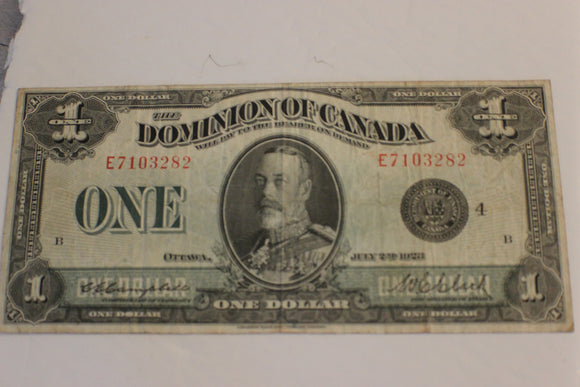 1923 Dominion of Canada $1.00, Some soiling on Rev, Campbell / Clark, F+