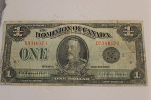 1923 Dominion of Canada $1.00, Stain on Rev. Creased, Campbell / Sellar, VG