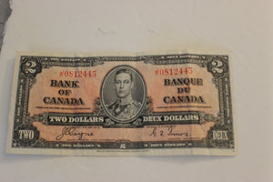 1937 Bank of Canada $2.00, Crumpled, Clean Note, Coyne / Towers, F