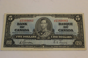 1937 Bank of Canada $5.00, Folded not creased, Gordon / Towers, F