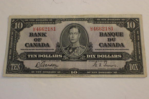 1937 Bank of Canada $10.00, 3 Folds, Good Corners, Clean, Gordon / Towers, F
