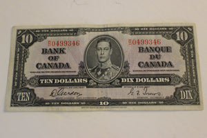 1937 Bank of Canada $10.00, Clean, Crisp 3 Folds, Gordon / Towers, F+