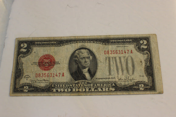 1928G U.S. $2.00, U.S. Government, United States Note, VG-F