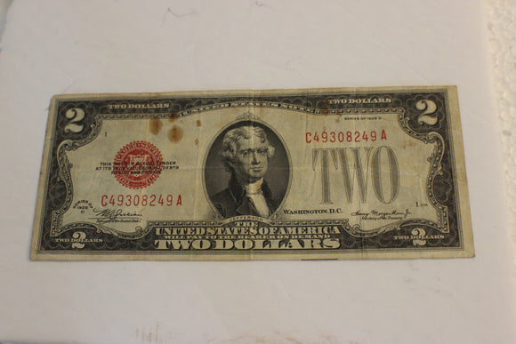 1928G U.S. $2.00, U.S. Government, United States Note, Stain on Face, VF