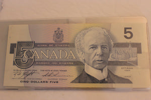 1986 Bank of Canada $5.00, Sig. Set. K/T, K/D, B/T, C/B	Yellow BPN, UNC, $90 for Set