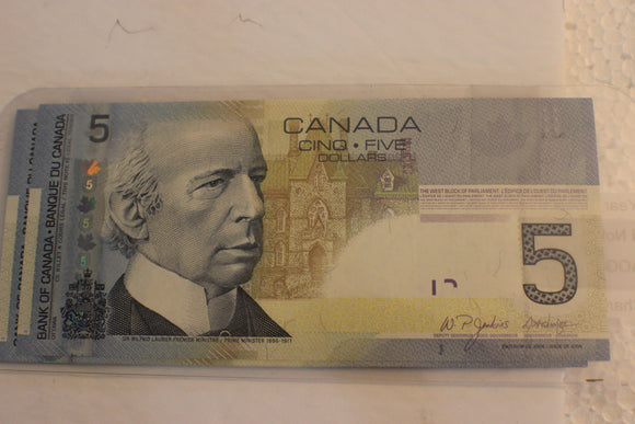 2006 Bank of Canada $5.00, 9 Notes, AOG, 9100-9900, Jenkins / Dodge, UNC, $120 for Set