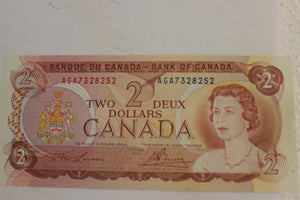 1974 Bank of Canada $2.00, 19 Notes, AGA-AGZ, Lawson & Crow/Bouey, UNC, $170 for Set