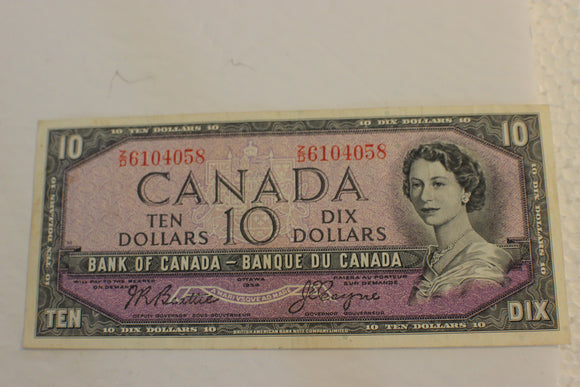 1954 Bank of Canada $10.00, Modified Z/D, Beattie / Coyne, F+