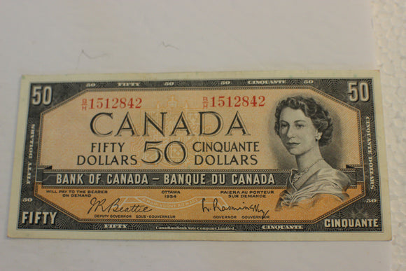 1954 Bank of Canada $50.00, Modified B/H, Beattie / Rasminsky, VF