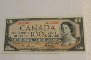 1954 Bank of Canada $100.00, Modified C/J, Light Soiling on Rev, Lawson / Bouey, VF