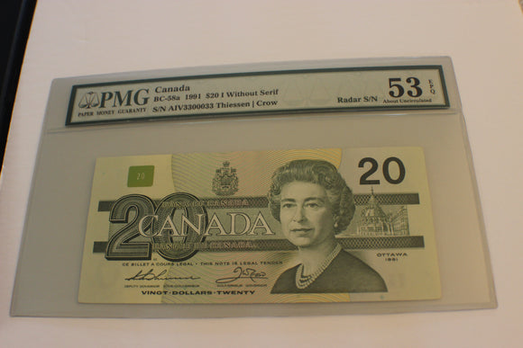 1991 Bank of Canada $20.00, 4133004G, AU 53, EPQ, PMG, BC-58a, Sans Serif, 2 Digit Radar, EPQ Theissen/Crow