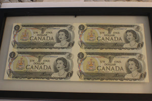 1973 Bank of Canada, Sheet of 4 $1.00 Notes, Framed, UNC