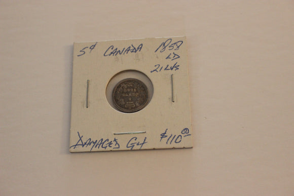 1858 5 Cents, Silver, G 4	LD, 21 Leaves, Impaired