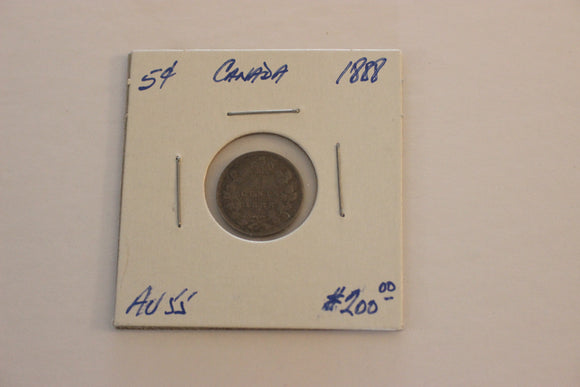 1888, 5 Cents, Silver, AU 55, Heavy Toning