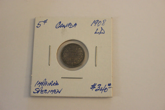 1908 5 Cents, Silver, Specimen, Impaired, LD