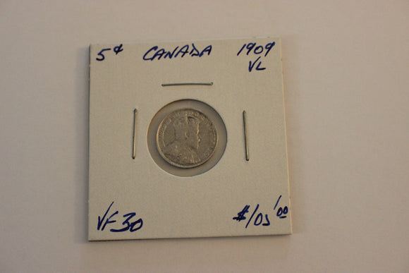 1909 5 Cents, Silver, VF 30, Vic. Leaves