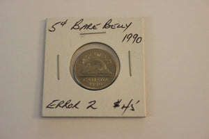 1990 5 Cents, Nickel, Bare Belly Beaver Error 2