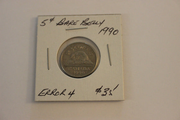 1990 5 Cents, Nickel, Bare Belly Beaver Error 4