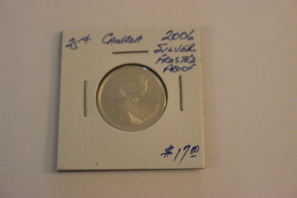 2006 25 Cents, Silver, Frosted Silver Proof