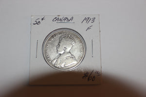 1913 50 Cents, Silver, F