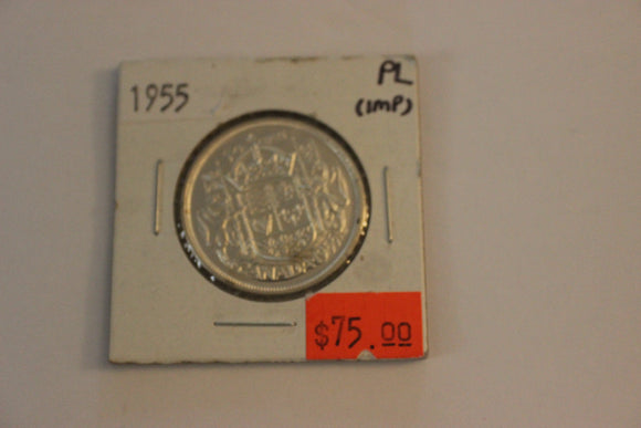 1955 50 Cents, Silver, PL, Impaired