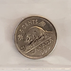 Canada 5 Cents 1990 Bare Belly Beaver, ICCS MS-63