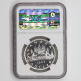 Canada $1 1965, Sm. Beads, Pt. 5., Obv. Struck Thru, Mint Error, NGC PL-64 Cameo