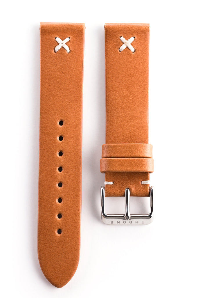 Natural leather classic band with white stitching