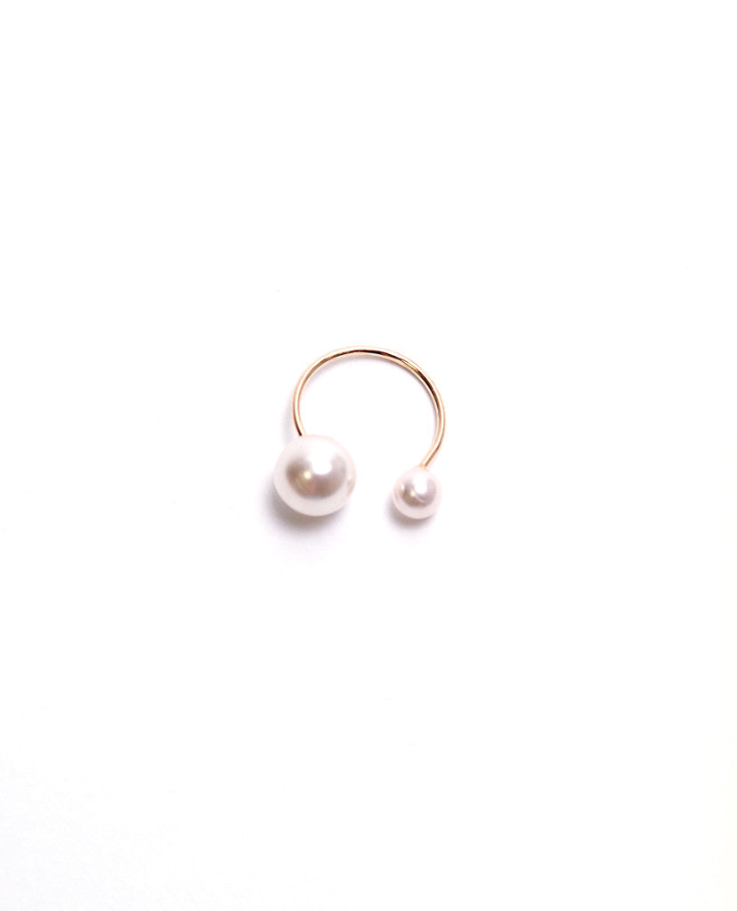 Double Pearl Ring - Pearl/Gold - Piin | ShopPiin.com