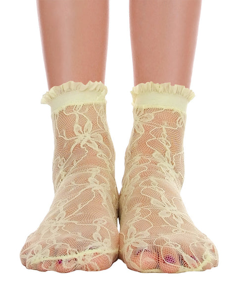 Lace With Ruffle Ankle Socks - Lime - Piin | www.ShopPiin.com