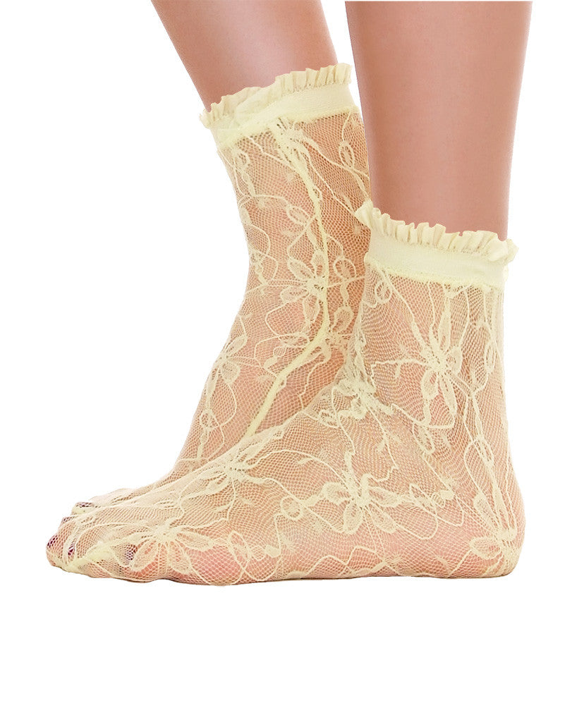 Lace With Ruffle Ankle Socks - Lime - Piin | ShopPiin.com