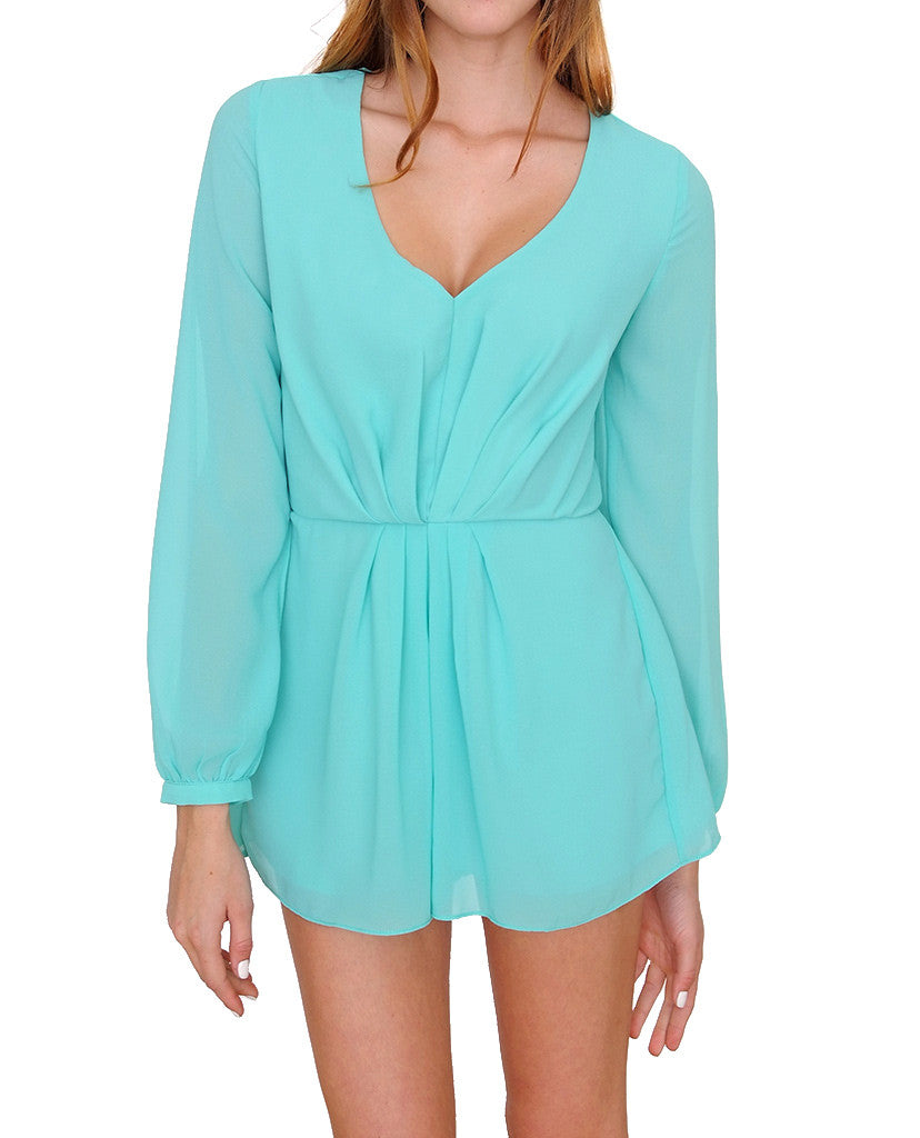 Look At Me Long Sleeve Romper - Sage - Piin | ShopPiin.com