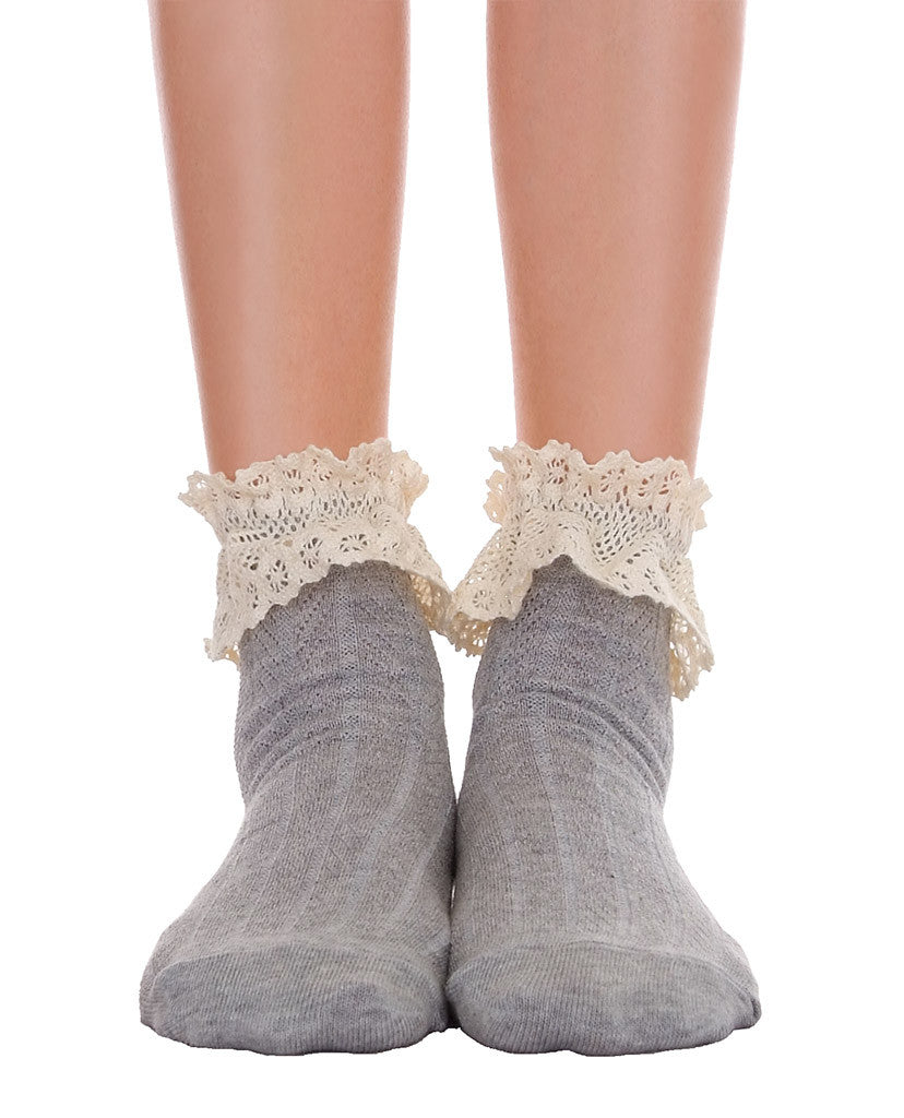 Ankle Socks With Lace - Gray & Pink - Piin | ShopPiin.com