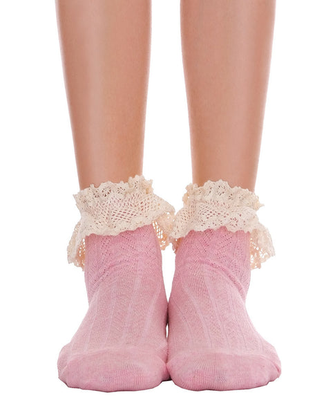 Ankle Socks With Lace - Gray & Pink - Piin | www.ShopPiin.com