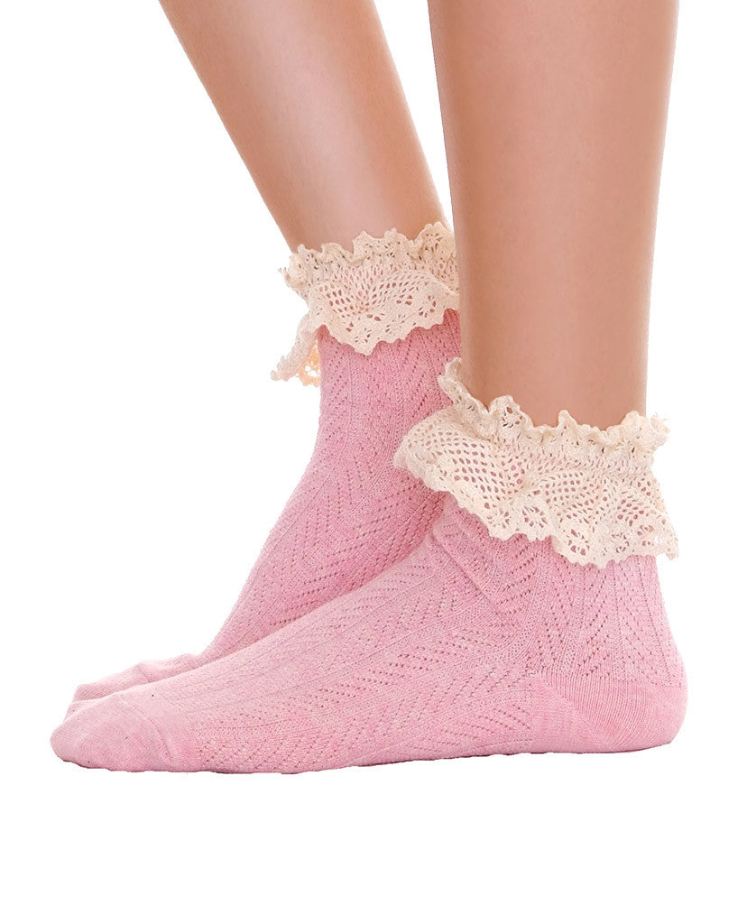 Ankle Socks With Lace Gray & Pink - Piin | www.ShopPiin.com