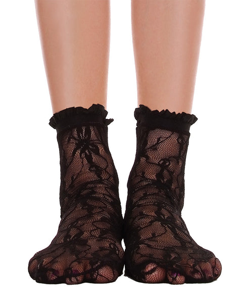Lace With Ruffle Ankle Socks - Black - Piin | ShopPiin.com