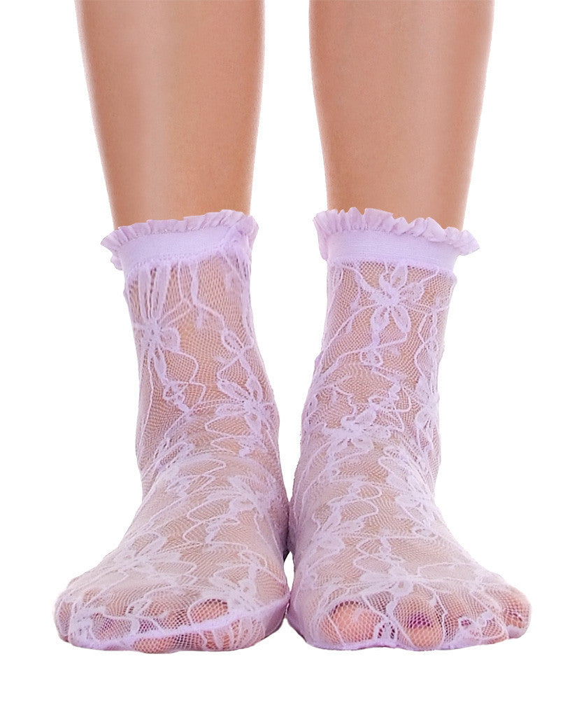 Lace With Ruffle Ankle Socks - Lavender - Piin | ShopPiin.com
