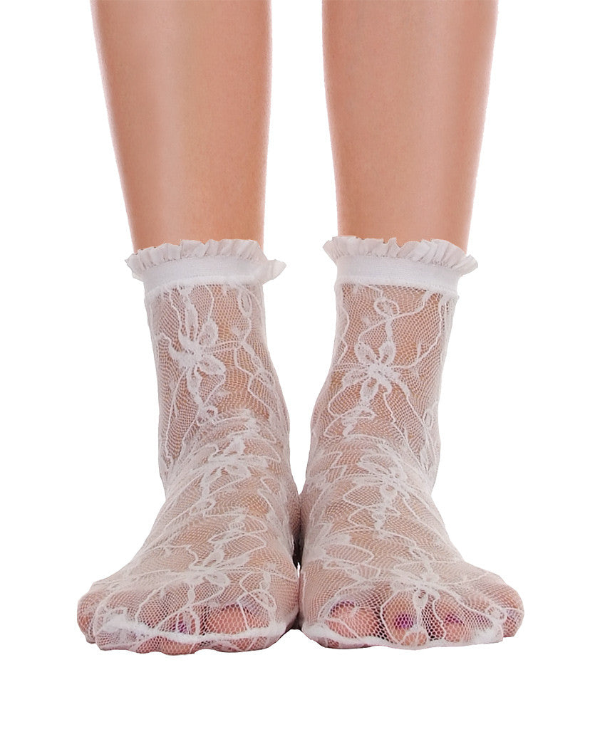 Lace With Ruffle Ankle Socks - White - Piin | ShopPiin.com