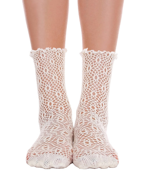 Lace Ankle Socks - Cream & Black - Piin | www.ShopPiin.com