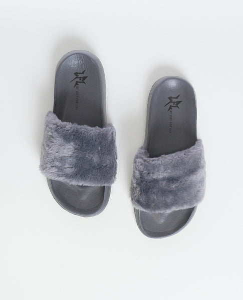 Cotton Candy Gray Faux Fur Slippers LFL by Lust For Life - Piin | www.ShopPiin.com