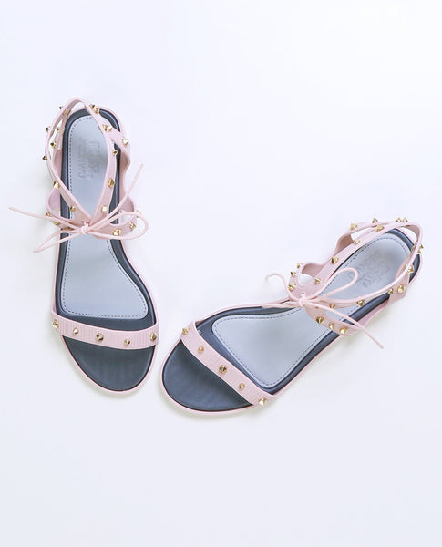 Studded Lace-Up Plastic Pink Sandals by Melissa X Jason Wu - Piin | ShopPiin.com