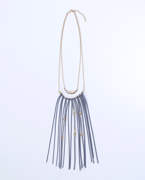 Soulmate Fringe Necklace - Gold/Gray - Piin | www.ShopPiin.com